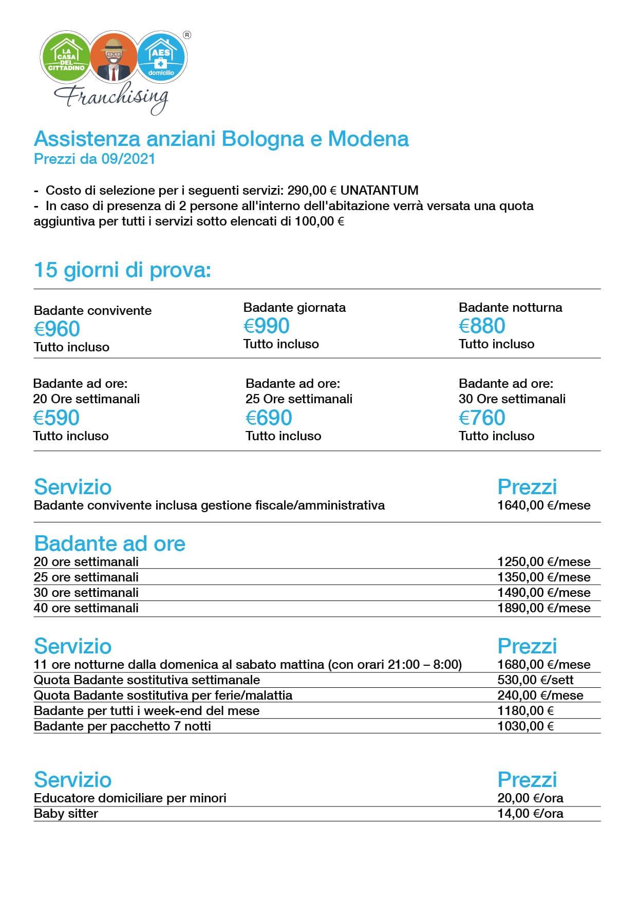Prezzi AES Franchising Sito MO-BO2020